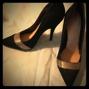 New Jessica Simpson black & gold heels, size 6